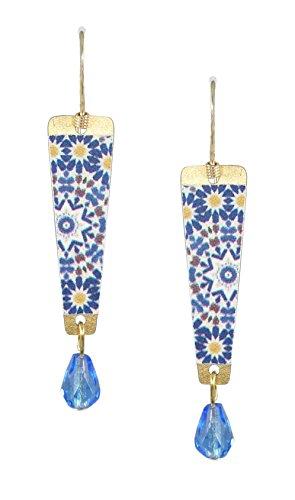 Lemon Tree Blue White Quilt Pattern Drop Earrings 4328 (Tree Lemon Pattern)