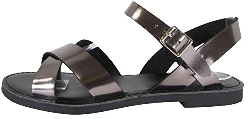 Cambridge Select Women's Open Toe Crisscross Strappy Buckled Ankle Flat Sandal,8.5 B(M) US,Pewter Patent - Patent Silver Slingback