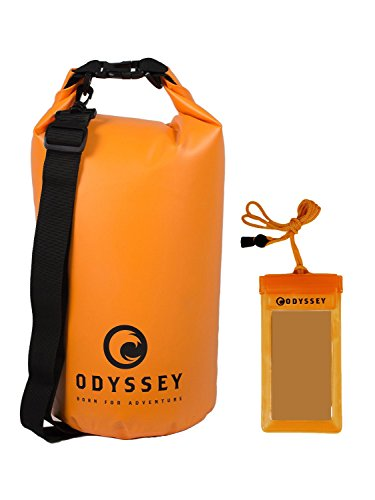 Odyssey 10L Orange Waterproof Dry Bag - Roll Top Dry Compression Sack Keeps Gear Dry for Kayaking, Beach, Rafting, Boating, Hiking, Camping and Fishing with Free Waterproof Phone Case