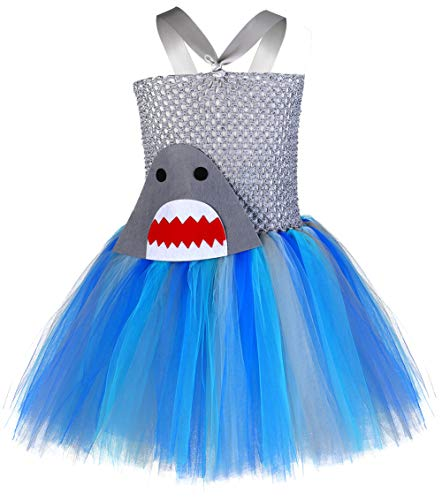 Tutu Dreams Baby Shark Tutu Outfit Toddler Girl Blue Tutu Costumes Birthday Gifts Photo Props (Shark, Small) ()