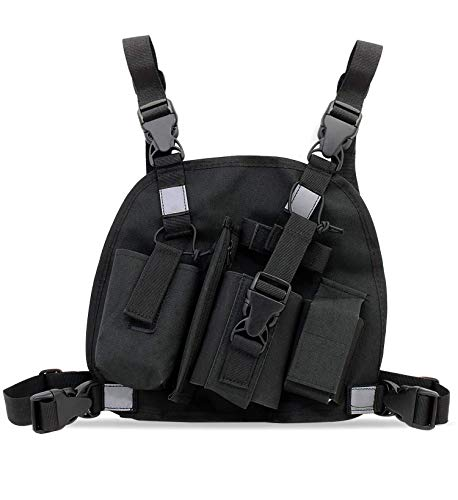 abcGoodefg Universal Radio Chest Harness Pack Front Pocket Pouch Bag Holster EMS Vest Rig with Reflective Stripe for Two Way Radio Walkie Talkie Black (Rescue Essentials)