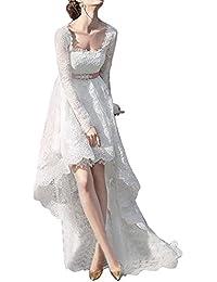 Womens Lace Long Sleeve High Low Wedding Dresses Boho Long Bridal Dress