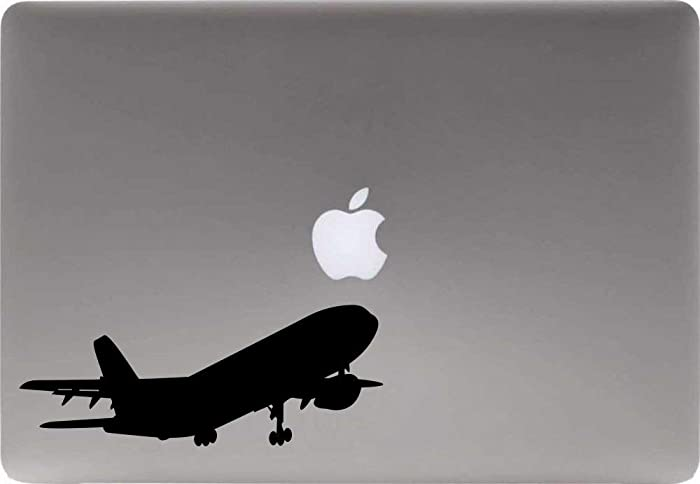 Airplane Silhouette Version 4 Vinyl Decal Sticker for Computer MacBook Laptop Ipad Electronics Home Window Custom Walls Cars Trucks Motorcycle Automobile and More (Black)