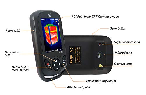 320 x 240 IR Resolution Thermal Camera, Pocket-Sized Infrared Camera with 76800 Pixels Real-Time Thermal Image, Temperature Measurement Range -4°F to 572°F,Mini IR Thermal Imager,Hti-Xintai