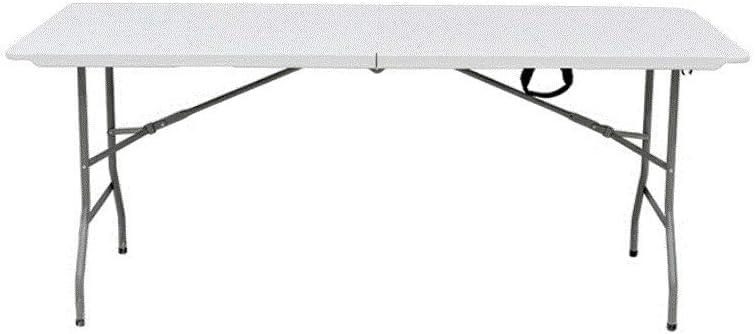 Bricoworld Mesa Rectangular Plegable al Centro Multiusos de Resina 180x75x74 cm Color Blanco Crudo