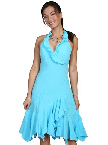 Scully 100% Peruvian Cotton Ruffled Halter Dress - Turquoise (Cotton Ruffled Halter Dress)
