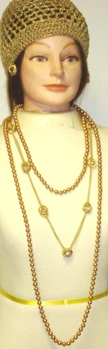 Set of Two Simulated Very Large Golden Pearl Necklace and Gold Plated Long Chain Necklace and Matching Earrings for Gold Necklace Offered with Hand Crocheted Gold Gimp Skull Cap