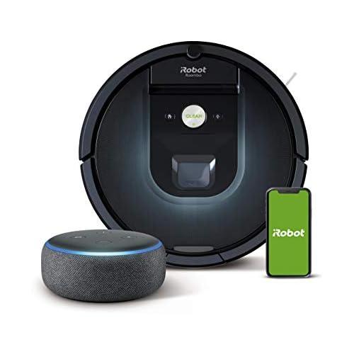 chollos oferta descuentos barato iRobot Roomba 981 Robot Aspirador WiFi Aspiración de Alta Potencia Dirt Detect Recarga y Sigue la Limpieza Echo Dot 3 ª generación Altavoz Inteligente con Alexa Tela de Color Antracita