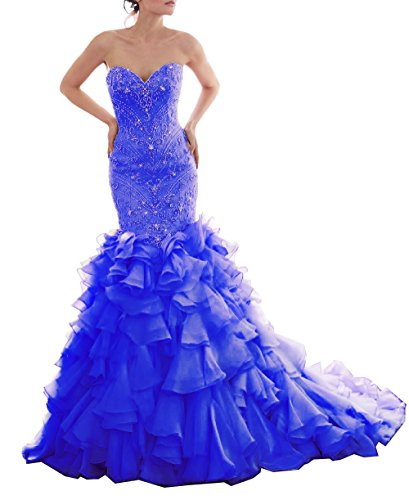 Tsbridal Beaded Mermaid Wedding Dress 2017 Sweetheart Royal Blue Wedding Gowns-US4