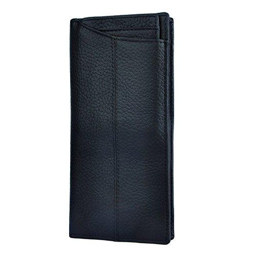 Checkbook Organizer Wallet - Le'aokuu Mens Genuine Leather Bifold Wallet Organizer Checkbook Card Case (M 1019 Black)
