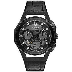 Men's Bulova Curv Chronograph Black Leather Strap Watch 98D152