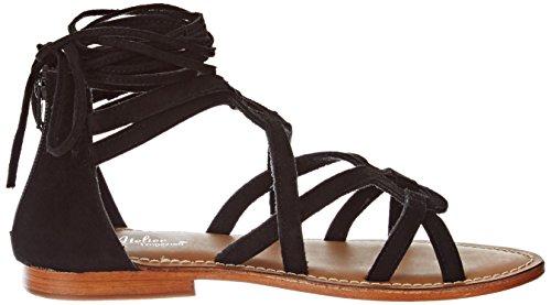 L'ATELIER TROPEZIEN Sandale Spartiate Lacet - Sandalias de Gladiador Mujer Noir (Suede Black)
