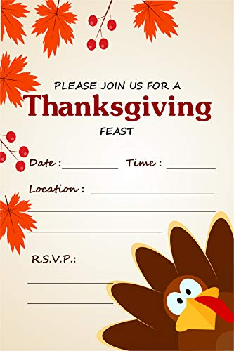 Family Stationery - Thanksgiving Dinner Invitations & Brown Envelopes (Pack of 25) Welcome Family & Friends Share The Harvest Feast Large 6 x 4 inches Fill in Style Country Theme Turkey Day Meal Invites