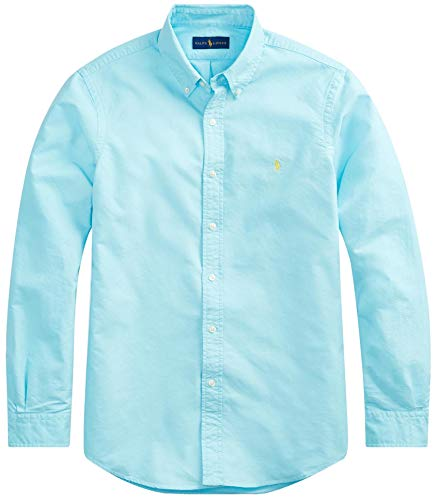 Ralph Lauren Men Solid Sport Oxford Shirt (M, HammBlue)