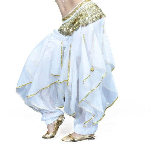 BellyLady Belly Dance Harem Pants Tribal Baggy Arabic Halloween Pants-White