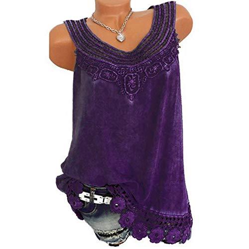 OrchidAmor Women O-Neck Sleeveless Pure Color Lace Plus Size Vest Tops Loose T-Shirt Blouse Purple ()