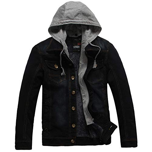Big Sale! Daoroka Mens Hoodies Denim Jacket Wind Autumn Winter Wash Distressed Thick Warm Coat Long Sleeve Zipper Pocket Coat Fashion Casual Outwear ()
