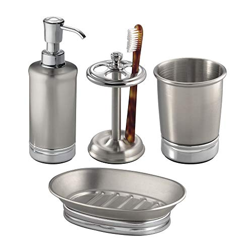 InterDesign York Metal Countertop Accessory Set, Soap Dispenser Pump and Dish, Toothbrush Holder, and Tumbler Cup for Master, Guest, Kids' Bathroom, Set of 4 Unique Pieces, Brushed Stainless Steel