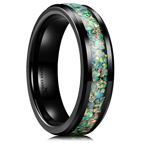 King Will Nature Mens 6mm Black Tungsten Carbide Ring Inlaid with Opal Fragments Plated Wedding Band 8.5 ()