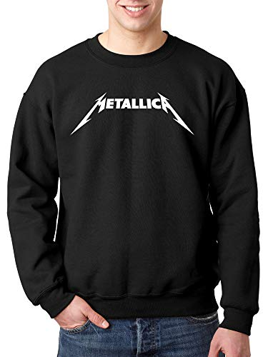 Crewneck New Mens Sweater - New Way 925 - Crewneck Metallica Metal Rock Band Logo Unisex Pullover Sweatshirt Large Black