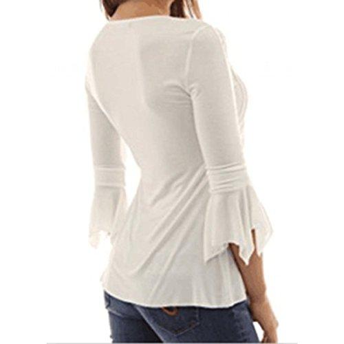 Elgante Shirt Col Blanc 4 Chemisier 3 Loisir Bouton Casual Top Manches Longues Et Blouse Pliss V Wenyujh Femme 5YIwYT