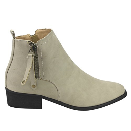 Side Tab Heel Pull Zipper Women's IC13 Chunky Light Reneeze Booties Grey Ankle wFnaqp4w