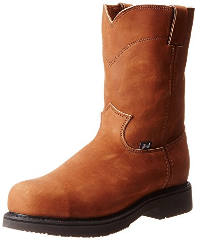 Logger Justin Boots (Justin Original Work Men's Double Comfort Steel Toe, Aged Bark, 9.5 EE US)