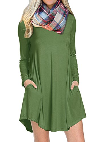 1f4d2f6c57ce POSESHE Women s Long Sleeve Pocket Casual Loose T-Shirt Dress