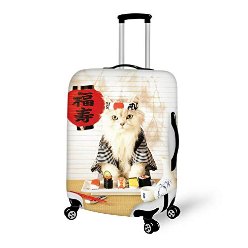 Travel Luggage Suitcase Cover Baggage Protector - Sushi Cat Japanese Cute Funny Kitten, Elasticity Waterproof Baggage Cover Zipper Protective Cover, Fits 18-28 Inch Luggage ()