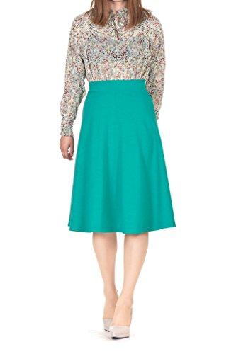 Long Skirt Unlined Skirt (Dani's Choice Everyday High Waist A-Line Flared Skater Midi Skirt (L, Green))