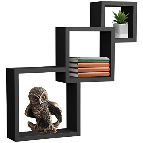 - Sorbus Floating Shelf Square Interlocking Cubes with 3 Openings - Decorative Wall Shelves Hanging Display for Photo Frames, Collectibles, and Home Décor (Interlocking 3-Tier Cube - Black)