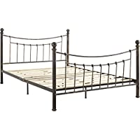 Flex Form Rowan Metal Platform Bed Frame / Mattress Foundation with Headboard and Footboard, Queen