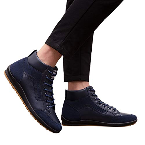Men Boots Casual Lace-up Sport Army Tactical Boots Desert Leather Utility Shoes US7-10.5 (US:10, Blue)
