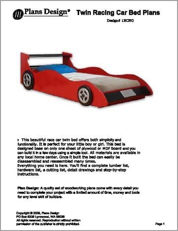 Twin Red Racing Car Bed Woodworking Plans -Design #1RCNG - Indoor ...