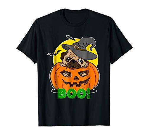 Pug Halloween T-Shirt Cool Pumpkin Pug Witch Hat Bat Boo Tee ()