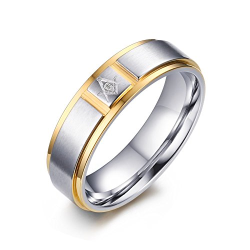9mm Stainless Steel Durable Classic Two-tone Step Edge Masonic Wedding Ring Bands for Men,size 9