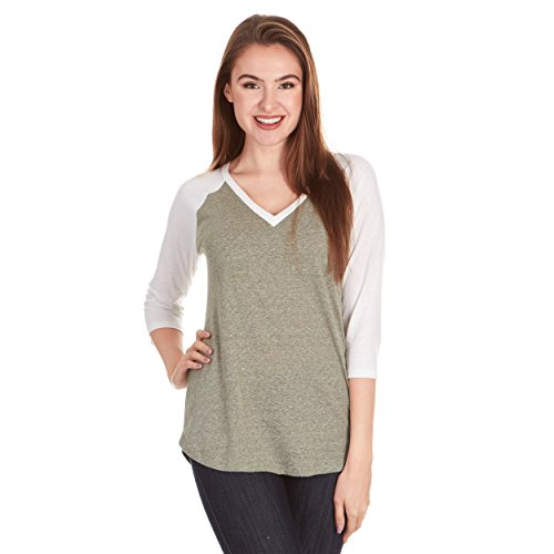 - X America Junior and Plus Size Raglan Baseball Tee, 3/4 Sleeve Shirts for Women, Made in USA