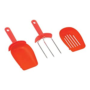 Kuhn Rikon Meat Fork and Scoop, Red, Set of 2