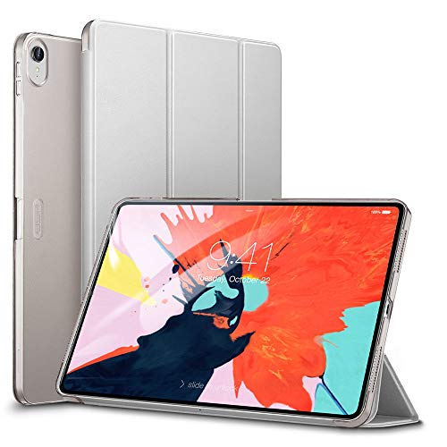 ESR Yippee Trifold Smart Case for iPad Pro 12.9 2018, Lightweight Stand Case,Auto Sleep/Wake[Apple Pencil Charging not Supported],Microfiber Lining, Hard Back Cover for iPad Pro 12.9 2018,Silver Gray