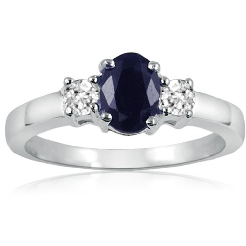 Sapphire and White Topaz Three Stone Ring in Sterling Silver ( Available Sizes 5-9) sz6 Dark Blue Sapphire Ring