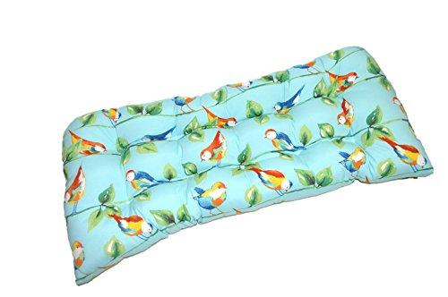 Indoor / Outdoor Cushion for Wicker Loveseat Settee - Richloom Solar Outdoor Sky Blue Curious Birds