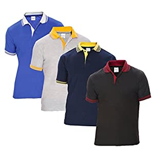 Combo 4 Men's Polo T Shirt Black Navy Grey Blue India 2020