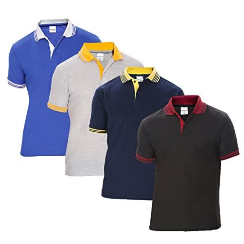 41j1QwyJ1yL. SS500  - Baremoda Men's Polo T Shirt Black Navy Grey Blue Combo Pack of 4