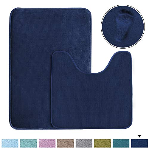 H.VERSAILTEX Original Memory Foam Bathroom Rug Set Contour Rug Combo (Set of 2) Soft Microfiber Non Slip Bath Mats U-Shaped Toilet Floor Mat, Non Slip Bath Rug Set (Navy, 20