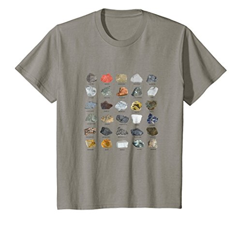 Kids Gems and Crystals Ores and Minerals Rock Collecting T-Shirt 10 Slate ()