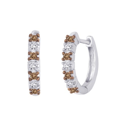 Alternating Brown and White Diamond Huggie Earrings in Sterling Silver (1/4 cttw) by KATARINA