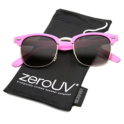 Premium Half Frame Horn Rimmed Sunglasses with Metal Rivets (Color Series | Pink)