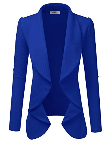 Doublju Classic Draped Open Front Blazer for Women with Plus Size Royal Medium