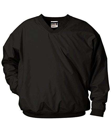 Badger Sportswear Men's V-Neck Windshirt, black, (Lined Microfiber Pullover)