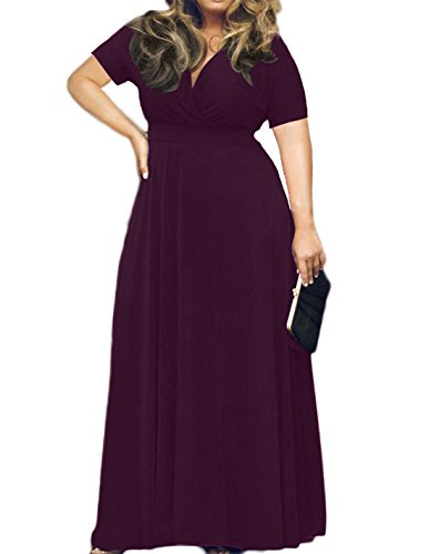 AM CLOTHES Womens Plus Size V-Neck Short Sleeve Evening Party Maxi Dress 5XL Deep (5x Women Dress)